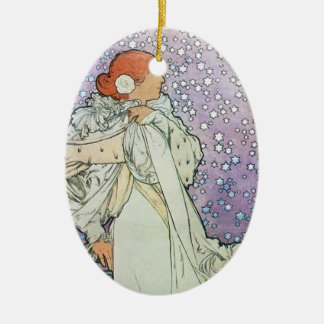Star Woman Double-Sided Oval Ceramic Christmas Ornament