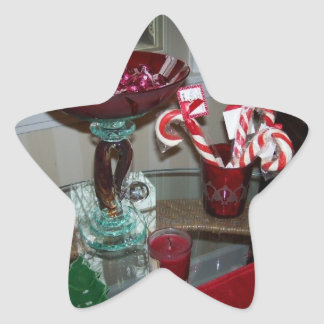 star xmas photo of red glass and candy canes star sticker