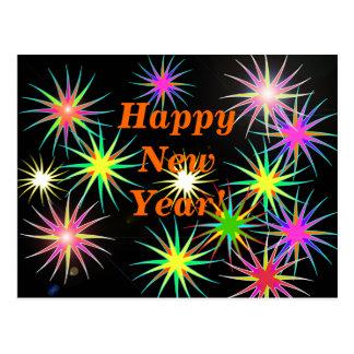 Starblast New Year Black Postcard