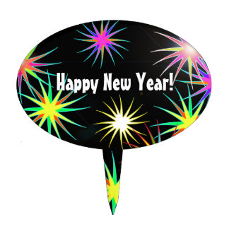Starblast New Year on Black Oval Cake Topper