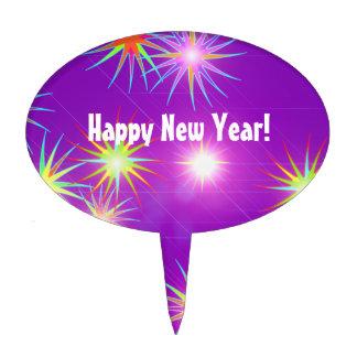 Starblast New Year on Purple Cake Topper