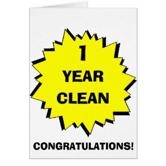 Starburst 1 Year clean Greeting Card