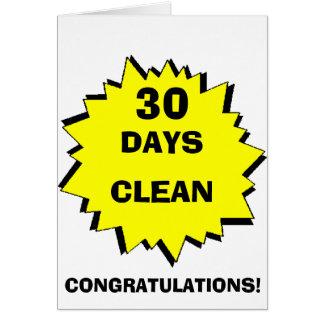 Starburst 30 days clean greeting card