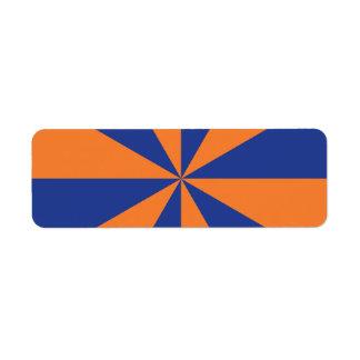 Starburst anaranjado y azul etiqueta de remitente