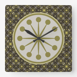Starburst and Lines Mid Century Pattern Earth Hues Square Wall Clock