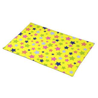 Starburst Celebration Party Pattern on yellow Placemat