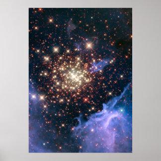 Starburst Cluster Shows Celestial Fireworks Poster