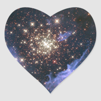 Starburst Cluster Universe Heart Sticker