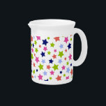 """Starburst Colorful Stars pattern on white Pitcher<br><div class=""""desc"""">stars, star, &quot;star pattern&quot;, &quot;stars pattern&quot;, starry, pattern, pastel, pastels, colorful, cute, sweet, girly, pretty, girls, girl, night, starlight, calm, stylish, calming, peaceful, decorative, trendy, abstract, hippy, hippie, Whimsical, funky, groovy, stylish, fun, cool, adorable, soft, gentle, seamless, ditsy, sky, &quot;night sky&quot;, 80s, rainbow, girlie, fashion, fashionable, teen, teenage, kids, child,...</div>"""