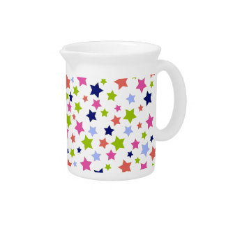 Starburst Colorful Stars pattern on white Pitcher