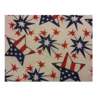 Starburst en rojo, blanco y azul tarjeta postal