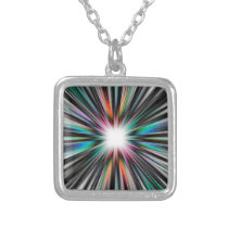 Starburst explosion pattern silver plated necklace