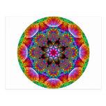 Starburst floral caleidoscópico multicolor postales