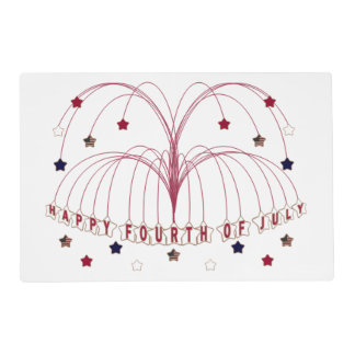 Starburst Fountain Fourth of July Paper Placemat