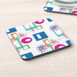 Starburst Geometric Multicolored Pattern Beverage Coasters