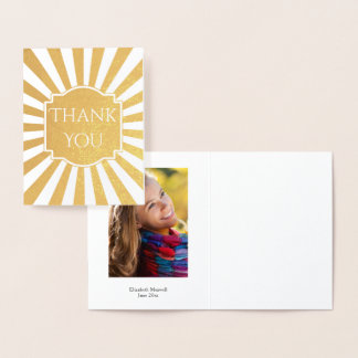 Starburst Graduation Thank You Photo Foil Card