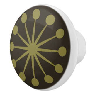 Starburst Mid Century Pattern Earth Hues Ceramic Knob