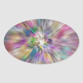 Starburst of Color Oval Sticker