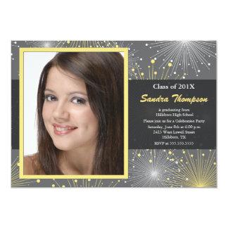 Starburst photo graduation party invitation