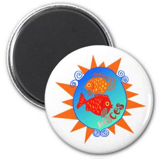 Starburst Pisces 2 Inch Round Magnet