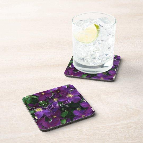 Starburst Purple Clematis Beverage Coaster