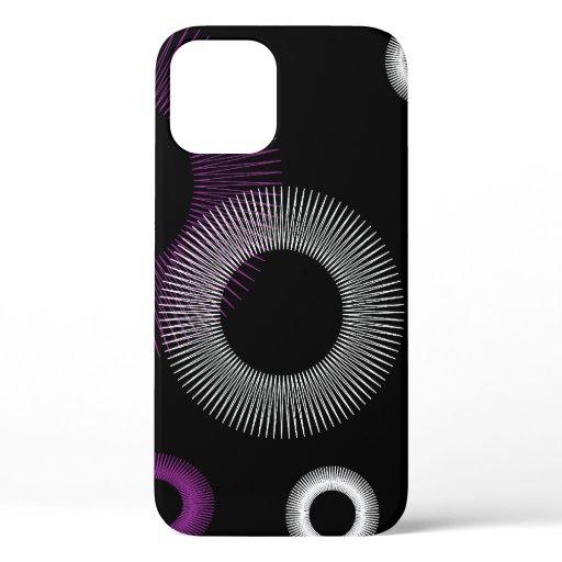 Starburst Purple White Black Retro Pattern iPhone 12 Case