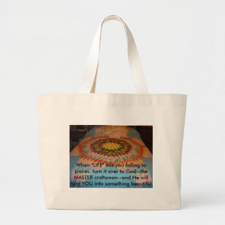 """Starburst Quilt, When """"LIFE"""" has you falling to... Large Tote Bag"""