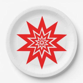 Starburst rojo en las placas del Libro Blanco Plato De Papel De 9 Pulgadas