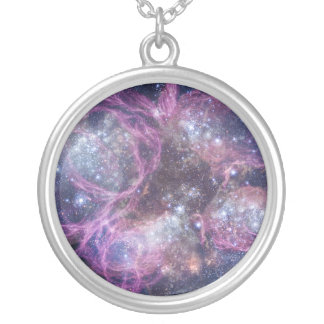 Starburst Stellar Fireworks Finale Outer Space Round Pendant Necklace