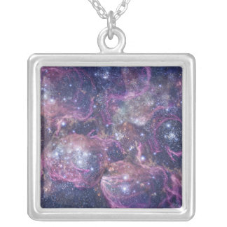 Starburst Stellar Fireworks Finale Outer Space Square Pendant Necklace