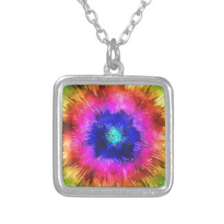 Starburst Tie Dye Watercolor Silver Plated Necklace