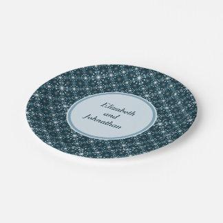 Starburst y líneas azul del modelo de los mediados plato de papel de 7 pulgadas