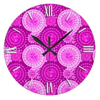 Starbursts and pinwheels, amethyst purple large clock