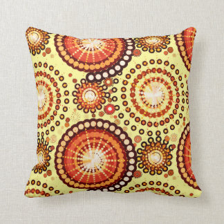 Starbursts and pinwheels, brown and yellow throw pillow