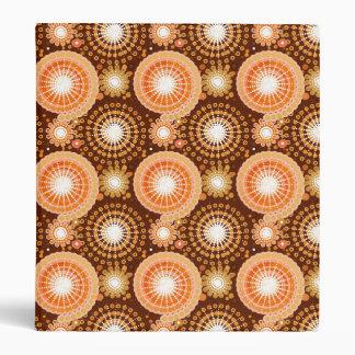 Starbursts and pinwheels, chocolate brown & tan binder