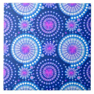 Starbursts and pinwheels, cobalt blue & white ceramic tile