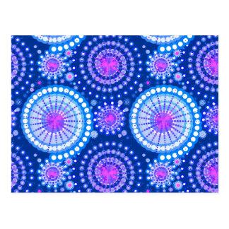 Starbursts and pinwheels, cobalt blue & white postcard