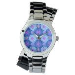 Starbursts and pinwheels, cobalt blue & white wrist watch