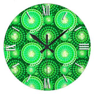 Starbursts and pinwheels, dark pine green large clock