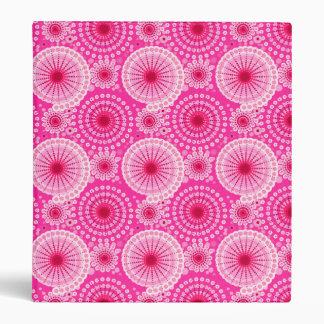Starbursts and pinwheels, fuchsia pink & maroon binder