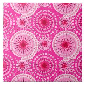 Starbursts and pinwheels, fuchsia pink & maroon ceramic tile