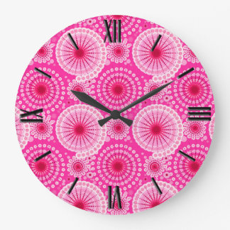 Starbursts and pinwheels, fuchsia pink & maroon large clock