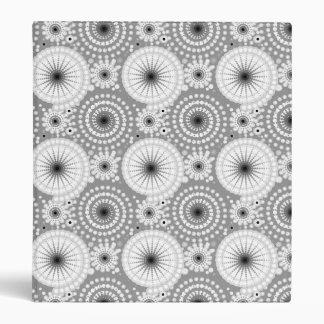 Starbursts and pinwheels, grey, black and white 3 ring binder