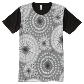 Starbursts and pinwheels, grey, black and white All-Over-Print T-Shirt