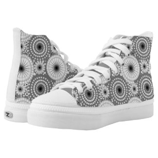 Starbursts and pinwheels, grey, black and white High-Top sneakers