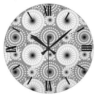 Starbursts and pinwheels, grey, black and white large clock