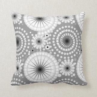 Starbursts and pinwheels, grey, black and white throw pillow