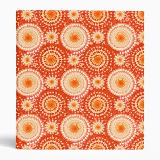 Starbursts and pinwheels, mandarin orange 3 ring binder