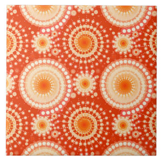 Starbursts and pinwheels, mandarin orange ceramic tile