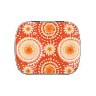Starbursts and pinwheels, mandarin orange jelly belly candy tin